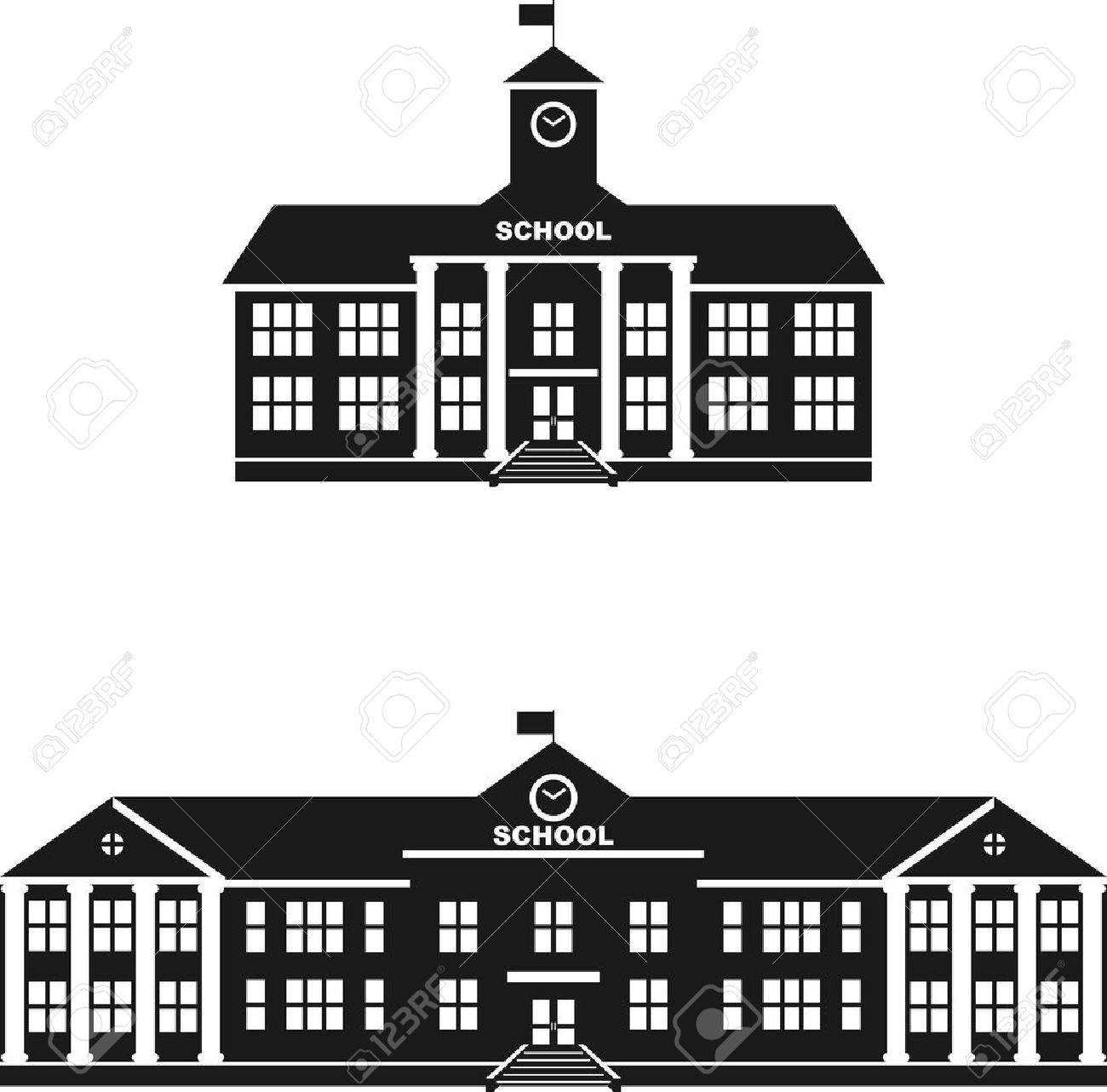 Silhouette illustration different variants of classical school building in a flat style. - 45504927