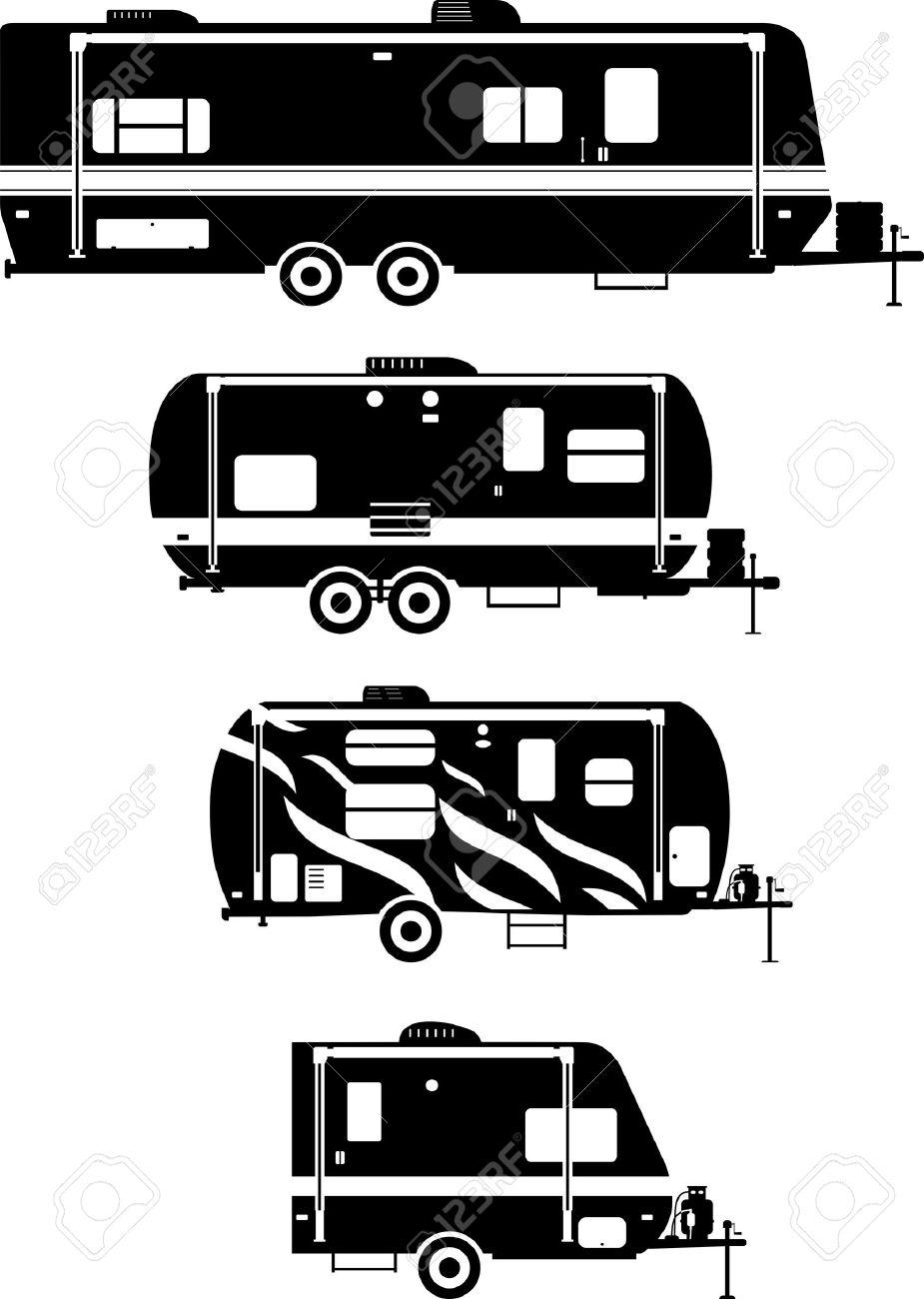 Silhouette Illustration Of Travel Trailer Caravans On A White Background Stock Vector