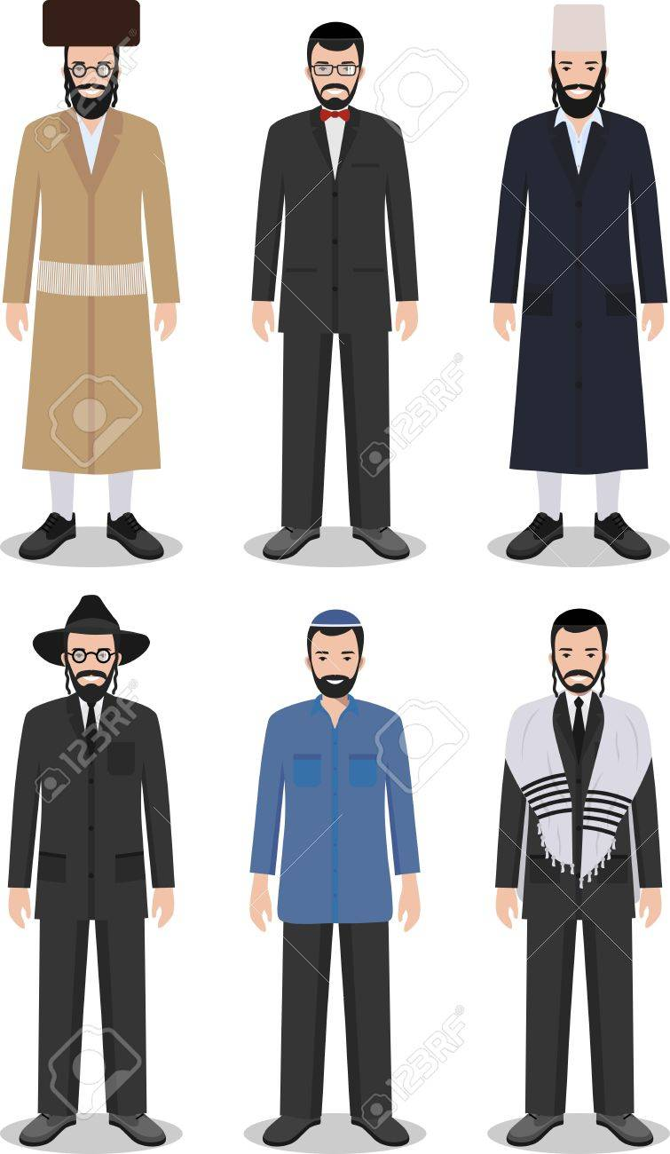 Detailed Illustration Of Different Standing Jewish Men In The ...