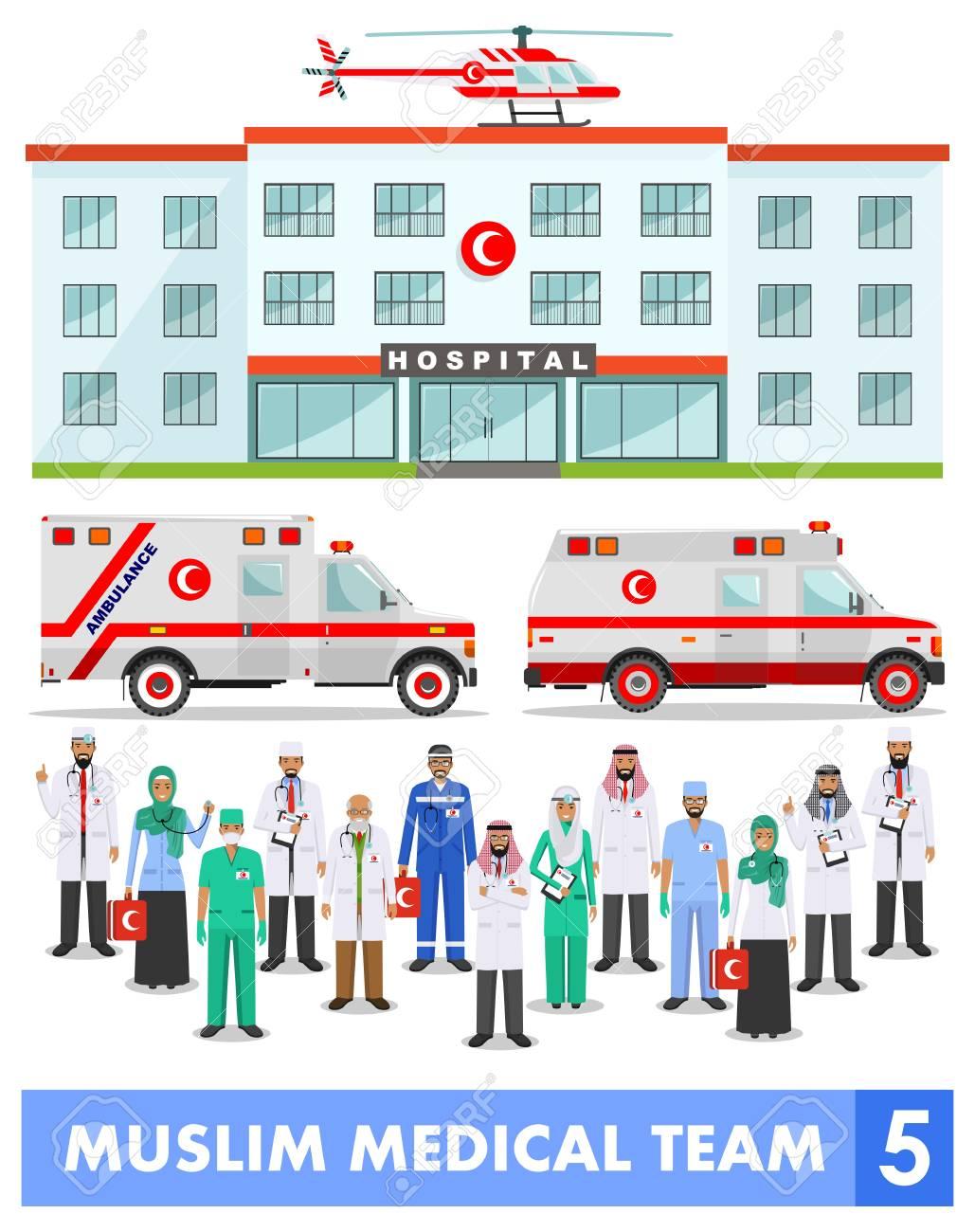 イスラム教徒アラビア語医療スタッフ、医療ヘリコプター、救急車車や病院の白い背景の上のフラット  スタイルの建物の詳細なイラスト。開業医アラビア語医者は男と女が立っています。