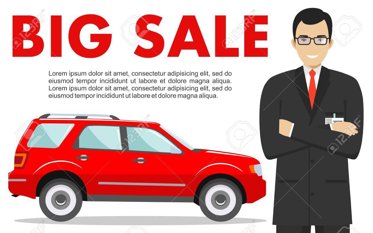 Lächelnder Verkäufer, Der Das Auto Zeigt. Auto-Business-Auto-Verkauf ...