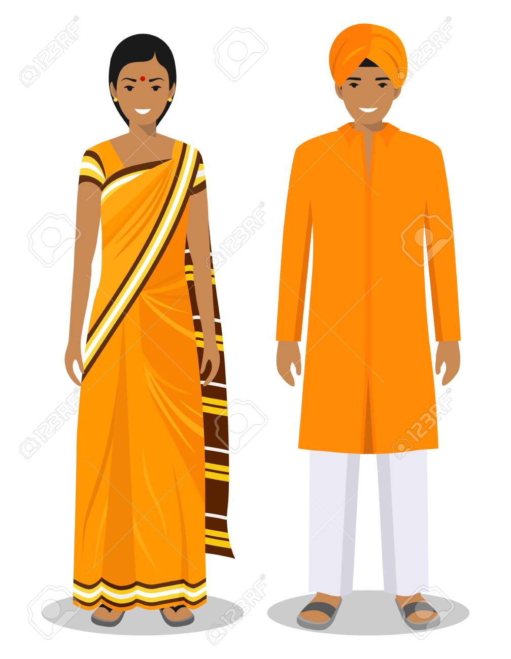 c002082473 Vector illustration. Set of standing together indian man and woman in the  traditional clothing isolated on white background