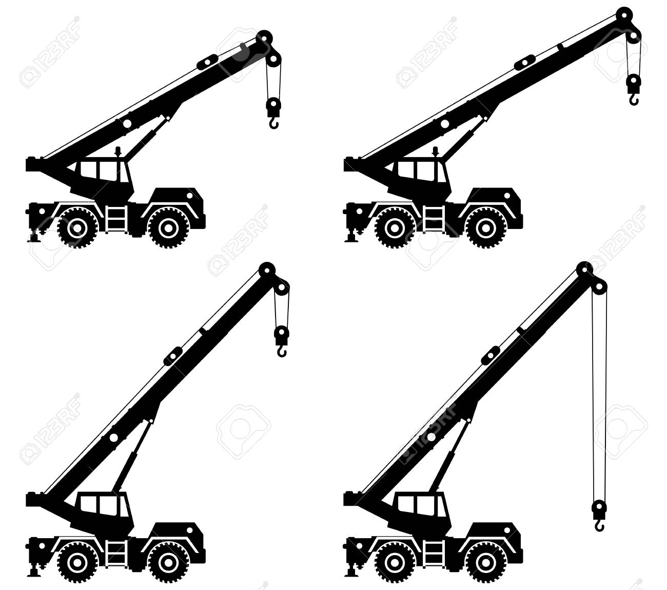Silhouette of crane truck with different boom position. - 100269345