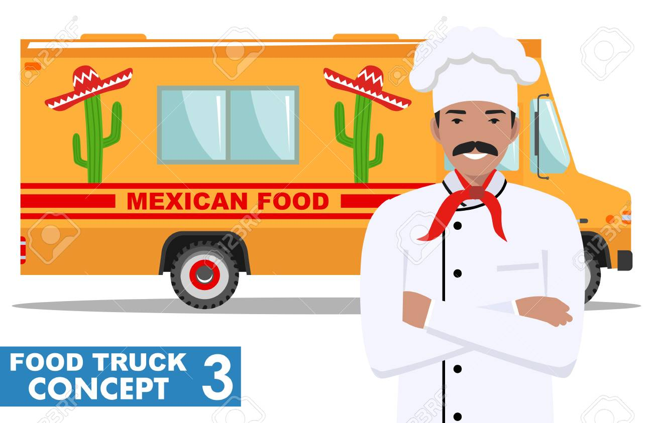 Flat Design Vector Illustration Of Food Truck And Cook Head Chef In Uniform Traditional Mexican Street Cuisine Auto Restaurant Mobile Kitchen Hot Fastfood Spicy Food Burrito Tacos Nachos Lizenzfrei Nutzbare Vektorgrafiken Clip