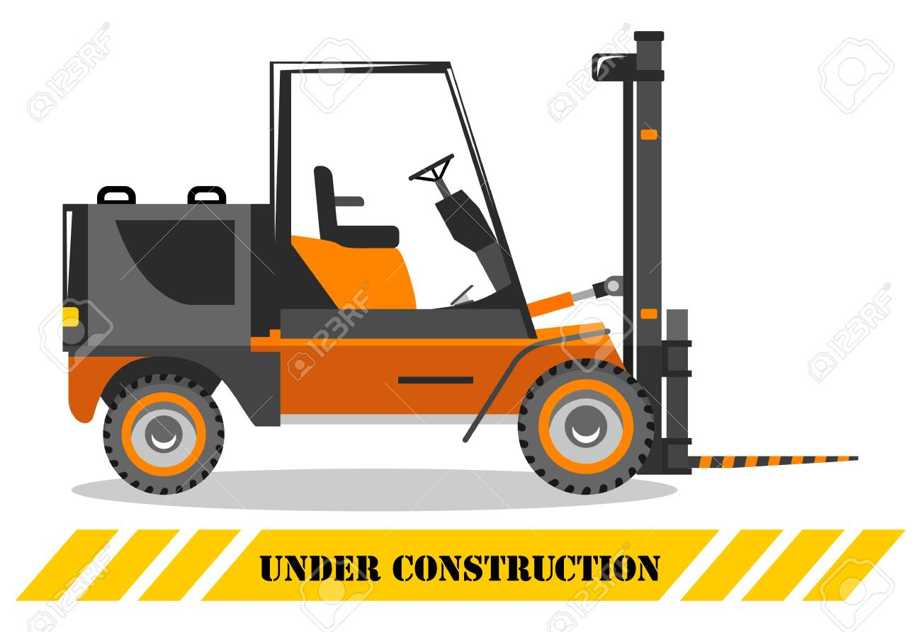 Detailed illustration of forklift. Heavy construction machine. Heavy equipment and machinery. Vector illustration. - 124640498