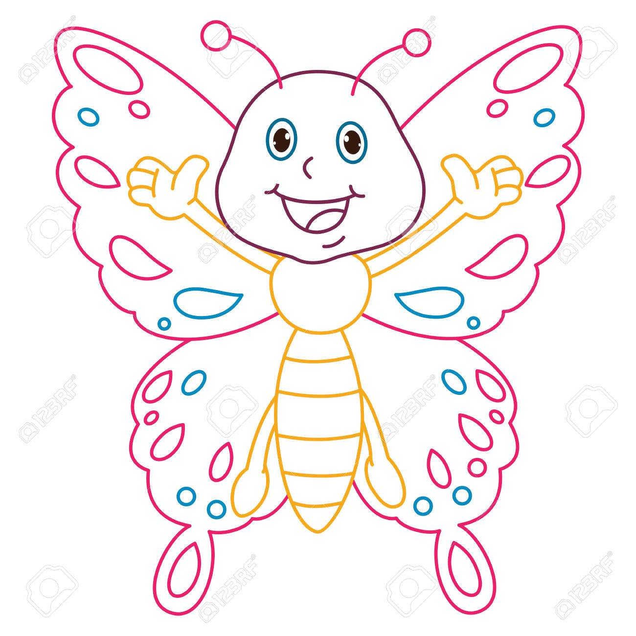 Página Para Colorear Ilustración De La Mariposa De Dibujos Animados