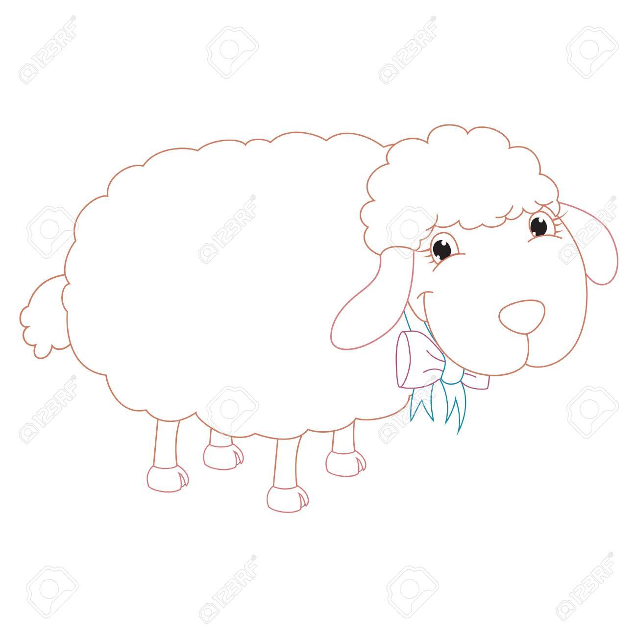 Cartoon Sheep, Coloring Page Illustration