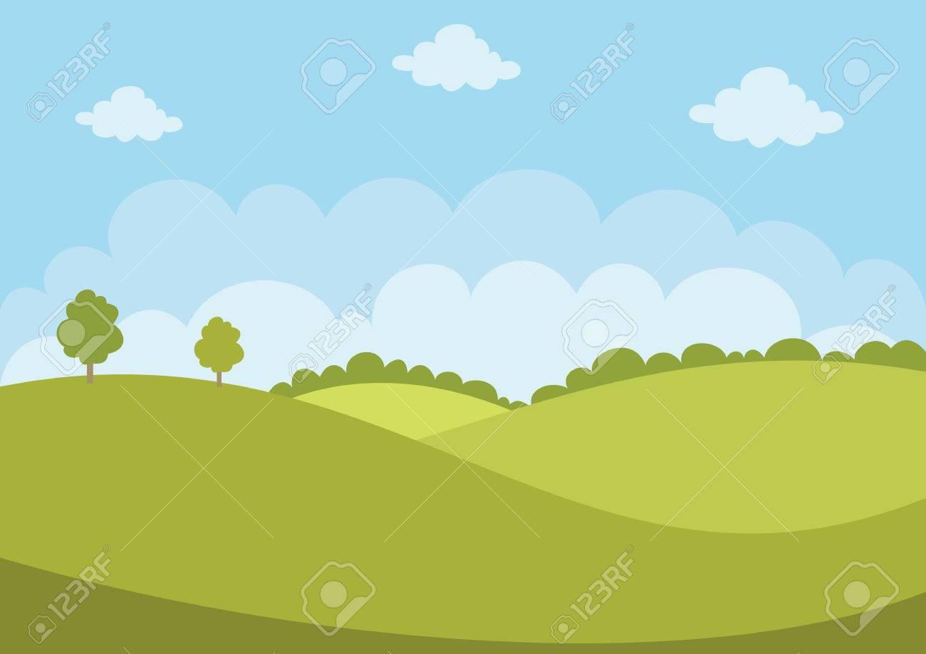 Green Flat Landscape - 68977667