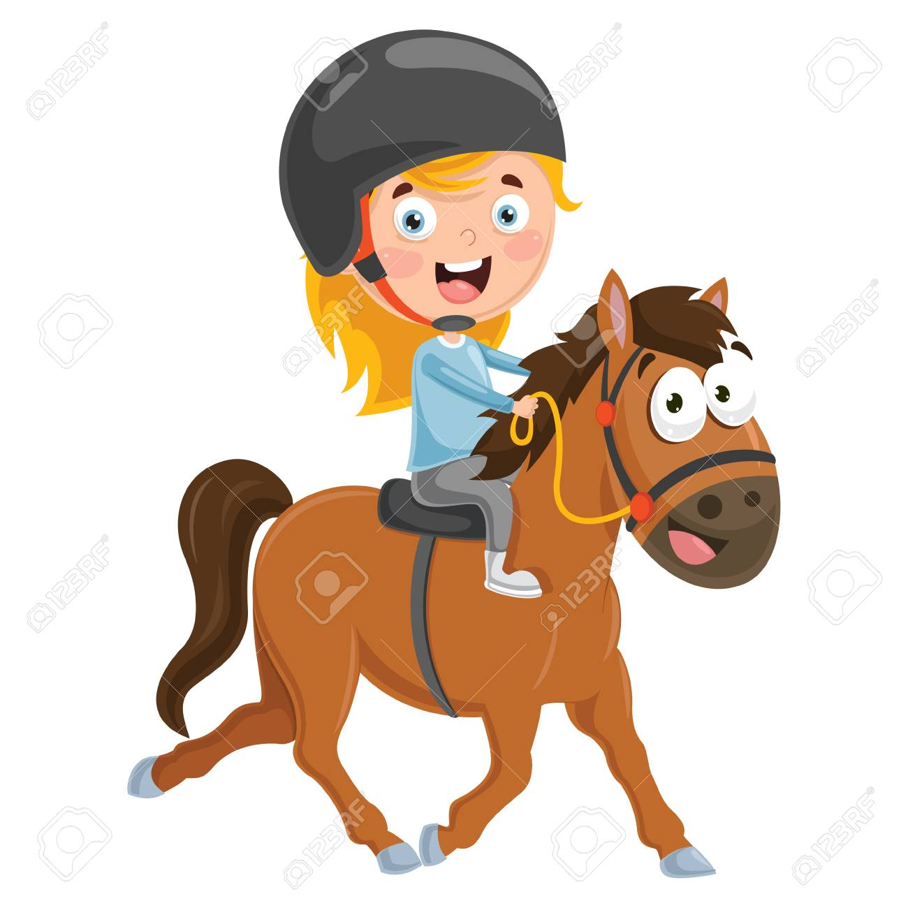 Vector Illustration Of Kid Riding Horse Royalty Free Cliparts Vectors And Stock Illustration Image 94911624