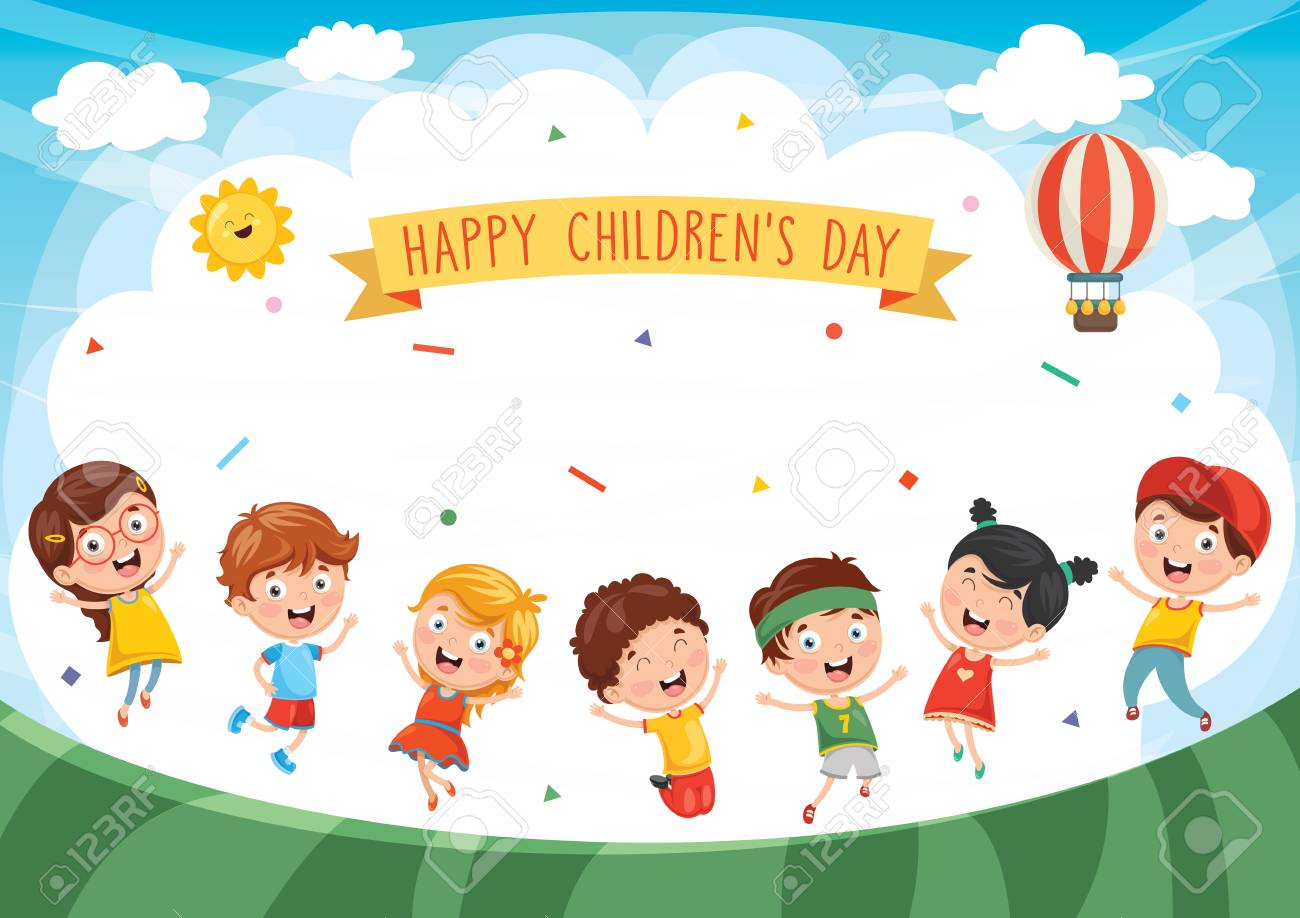 Happy Children Day banner with lots of happy kids design - 96586499