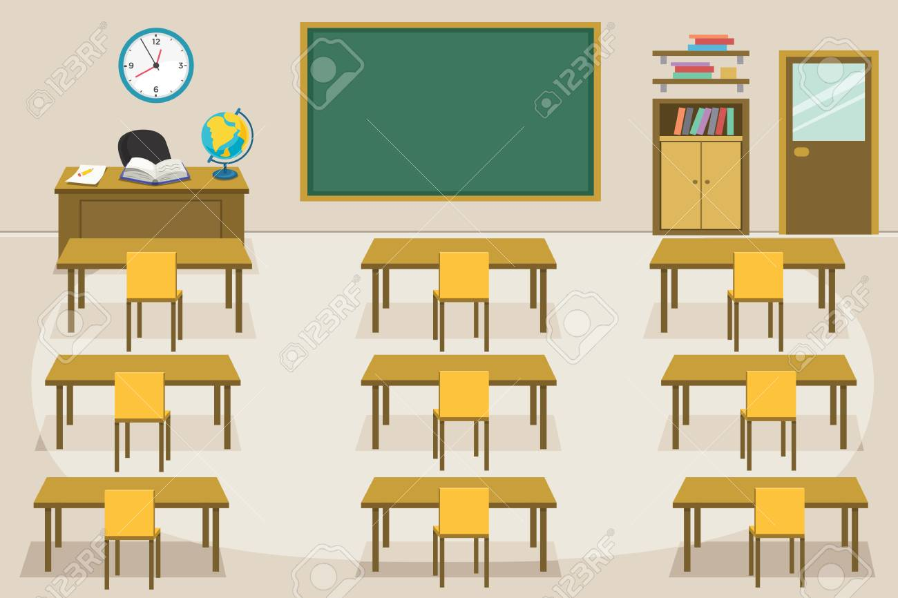 Vector Illustration Of Kids Classroom - 96964090