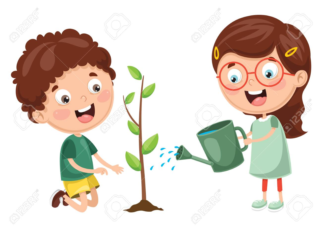 Vector Illustration Of Kids Planting and watering plants - 97363853