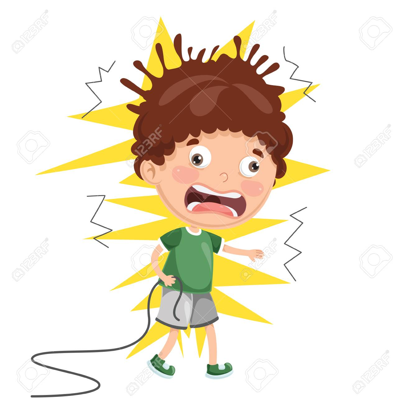 Vector Illustration Of Kid With Electric Shock - 97622911