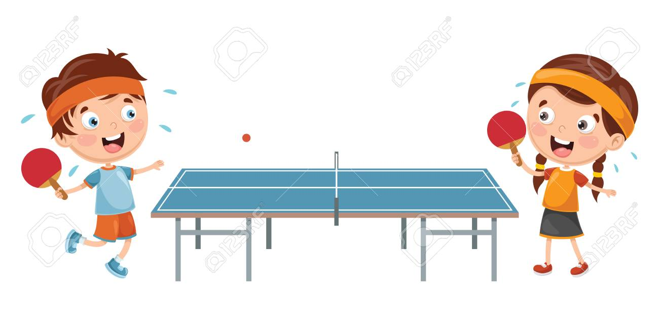 Vector Illustration Of Kids Playing Table Tennis - 97751726
