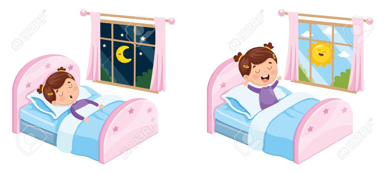 Vector Illustration Of Kid Sleeping - 101672797