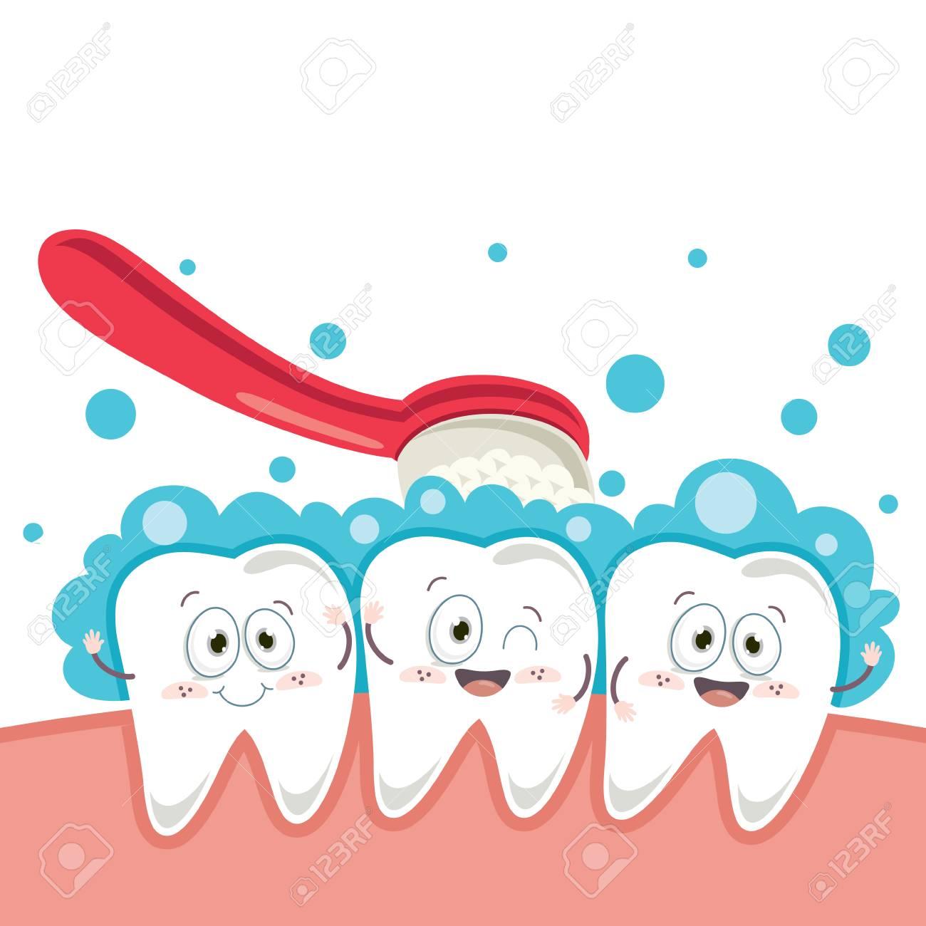Vector Illustration Of Cartoon Tooth - 101799587
