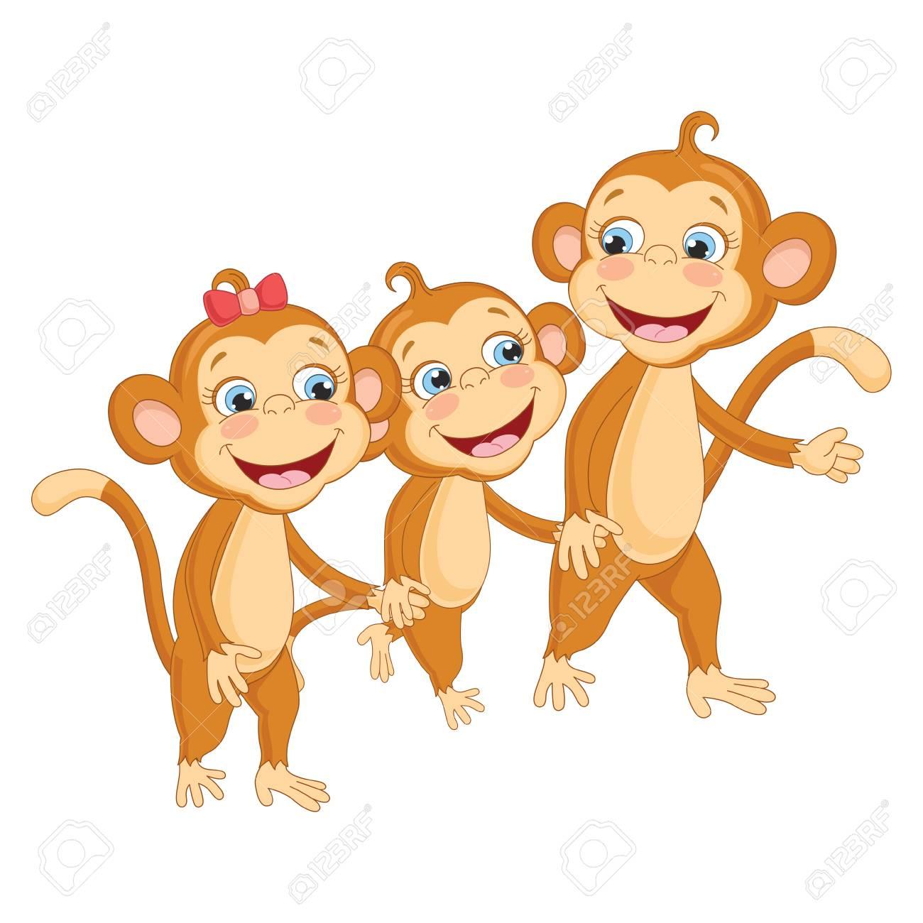 Vector Illustration Of Cartoon Monkeys Royalty Free Cliparts Vectors And Stock Illustration Image 103194844