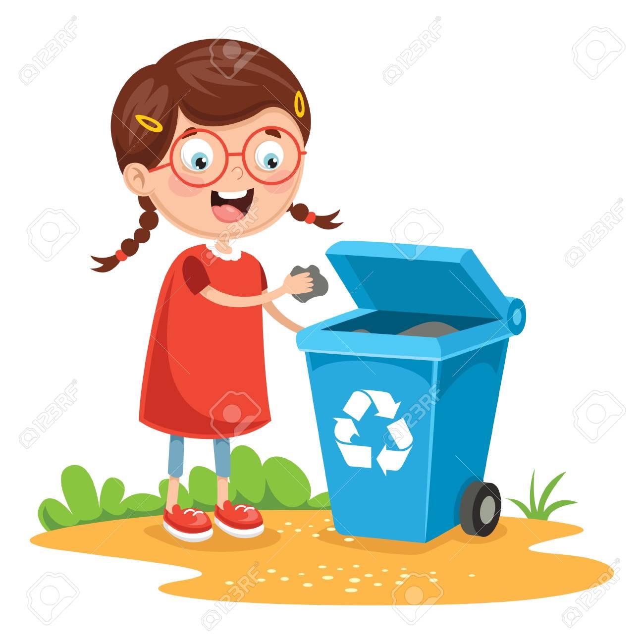 Vector Illustration Of Kid Recycling Trash - 103837422