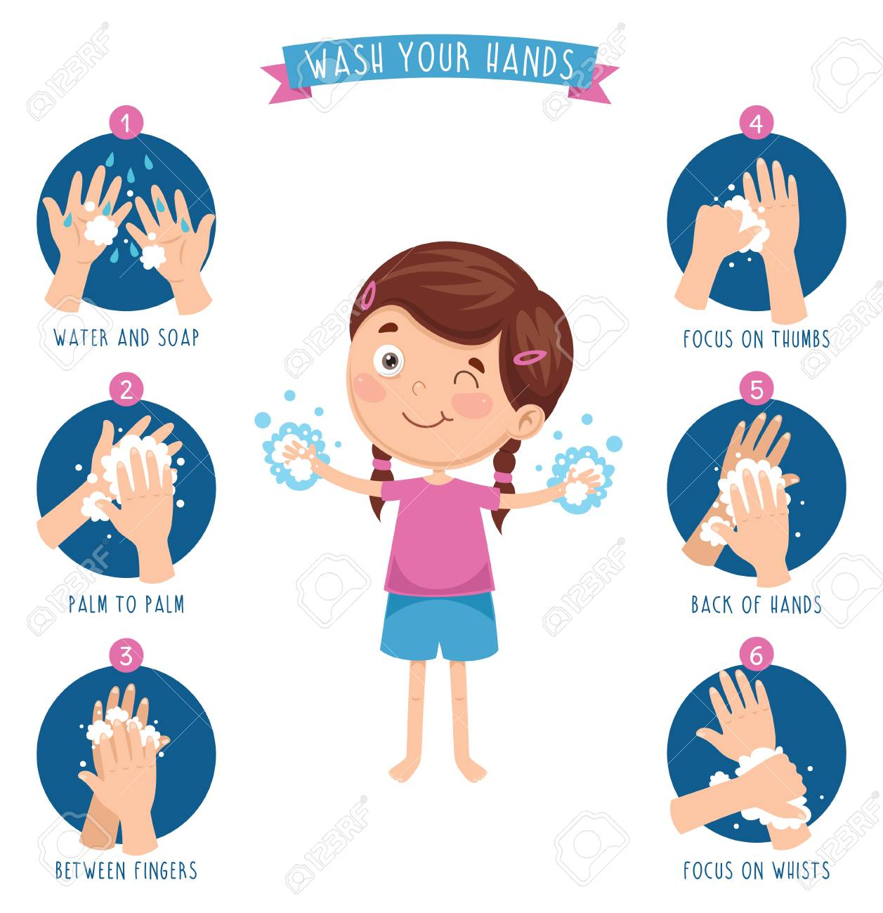 Vector Illustration Of Washing Hands Royalty Free Cliparts ...