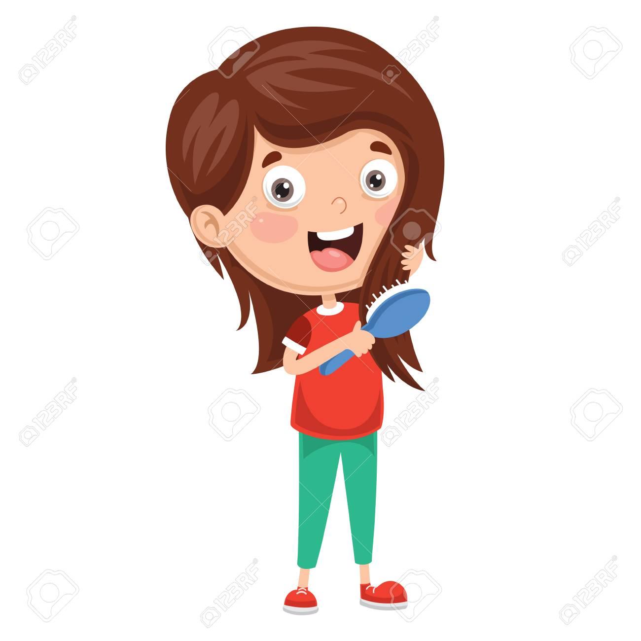 Vector Illustration Of Kid Brushing Hair - 104077965