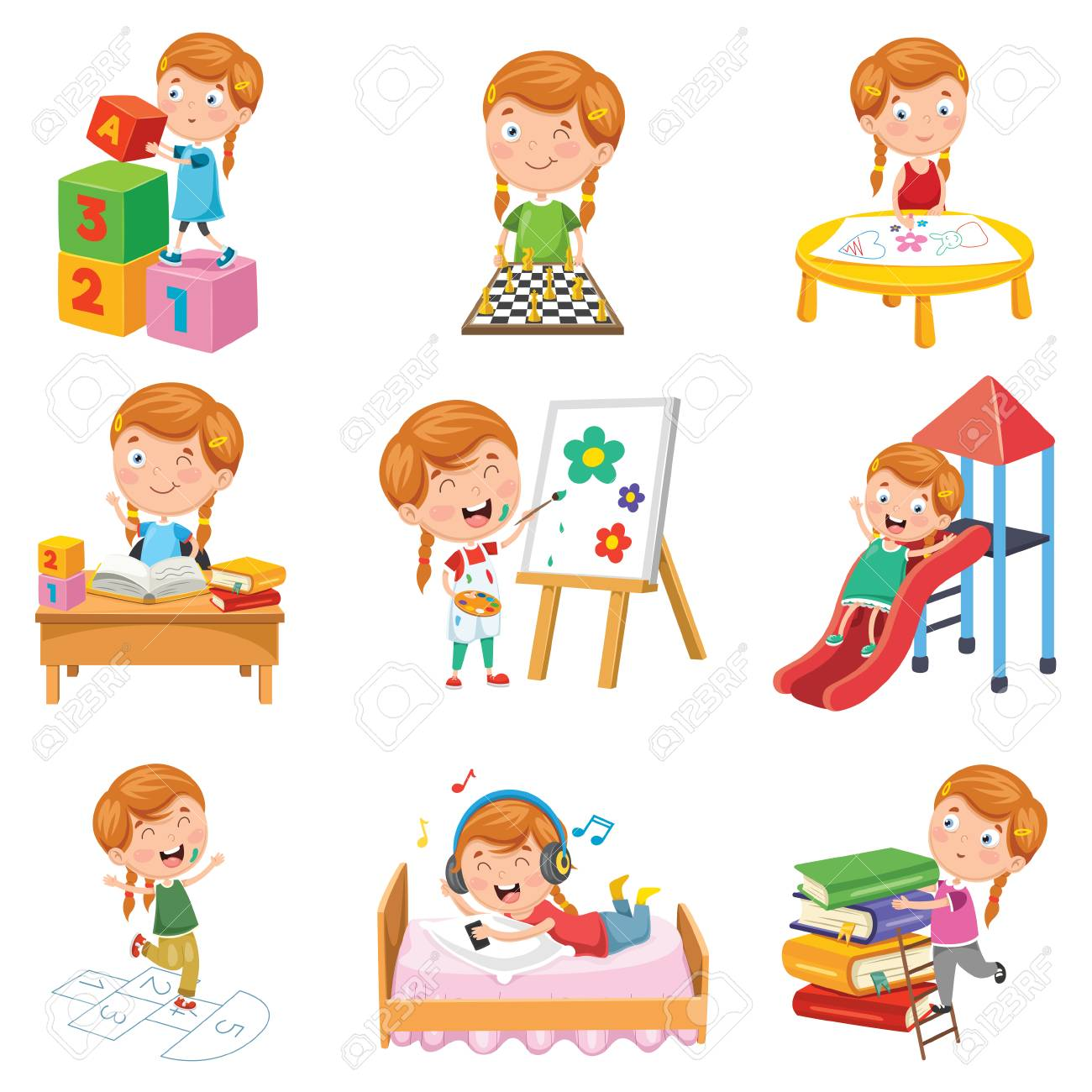Vector Illustration Of Little Girl Playing - 104078097
