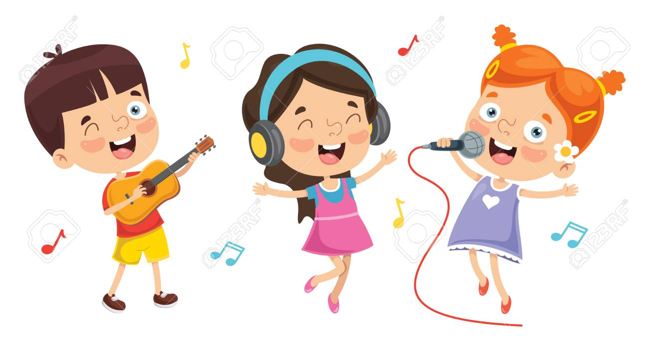 Vector Illustration Of Kids Playing Music - 105136719