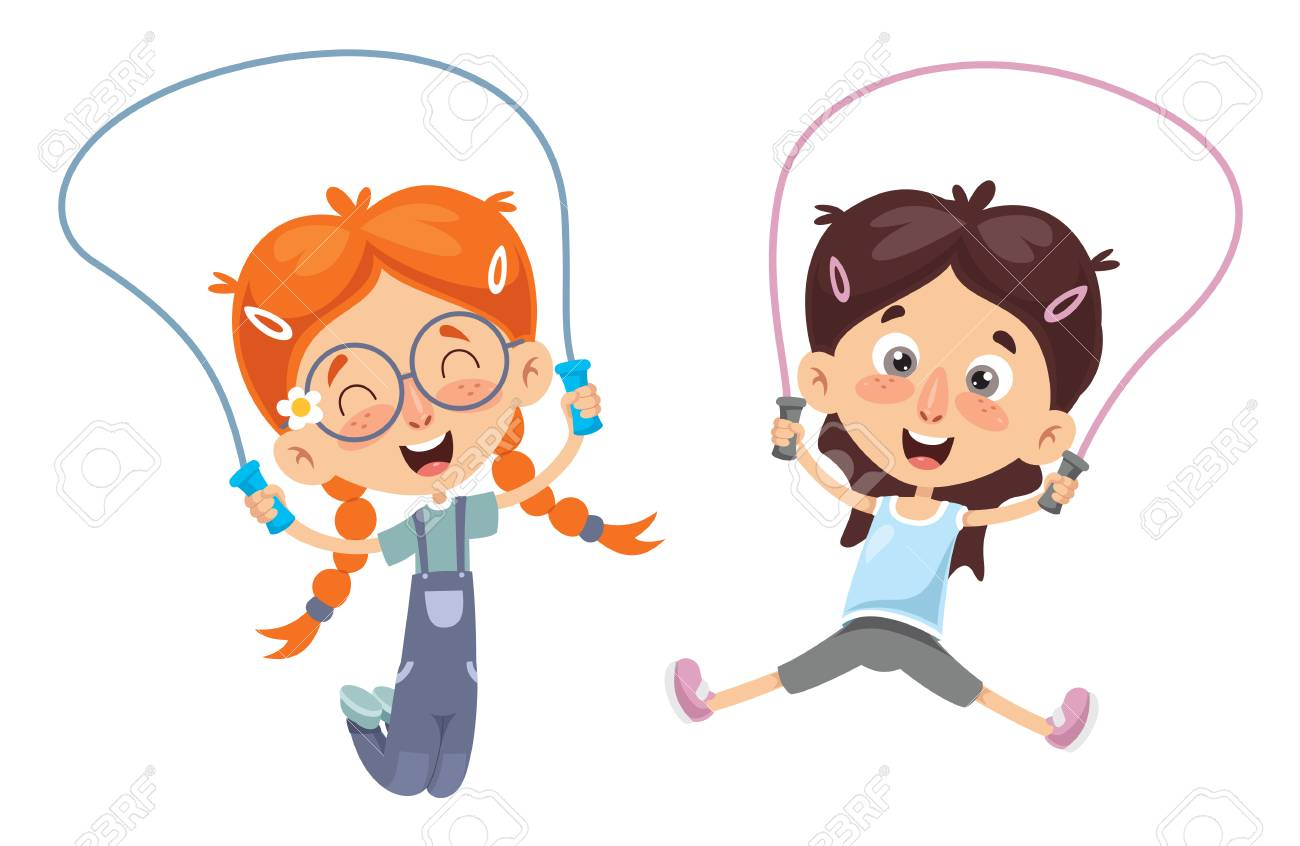 Vector Illustration Of Kid Skipping Rope Royalty Free Cliparts, Vectors,  And Stock Illustration. Image 105063836.