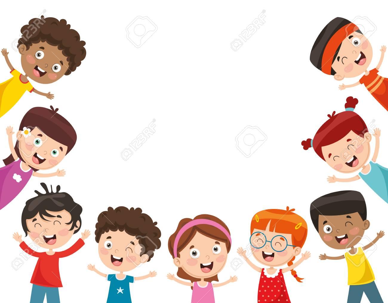 Vector Illustration Of Happy Children - 112470162