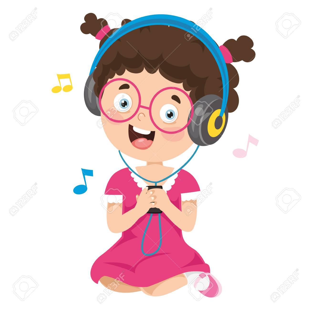 Vector Illustration Of Kid Listening Music - 114294823