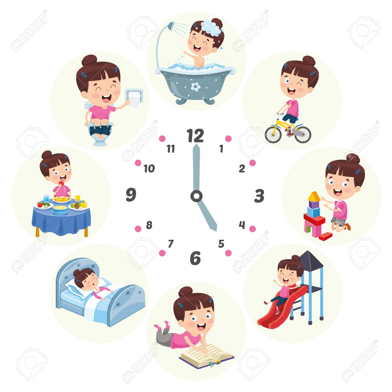 Vector Illustration Of Kids Daily Routine Activities - 114778568