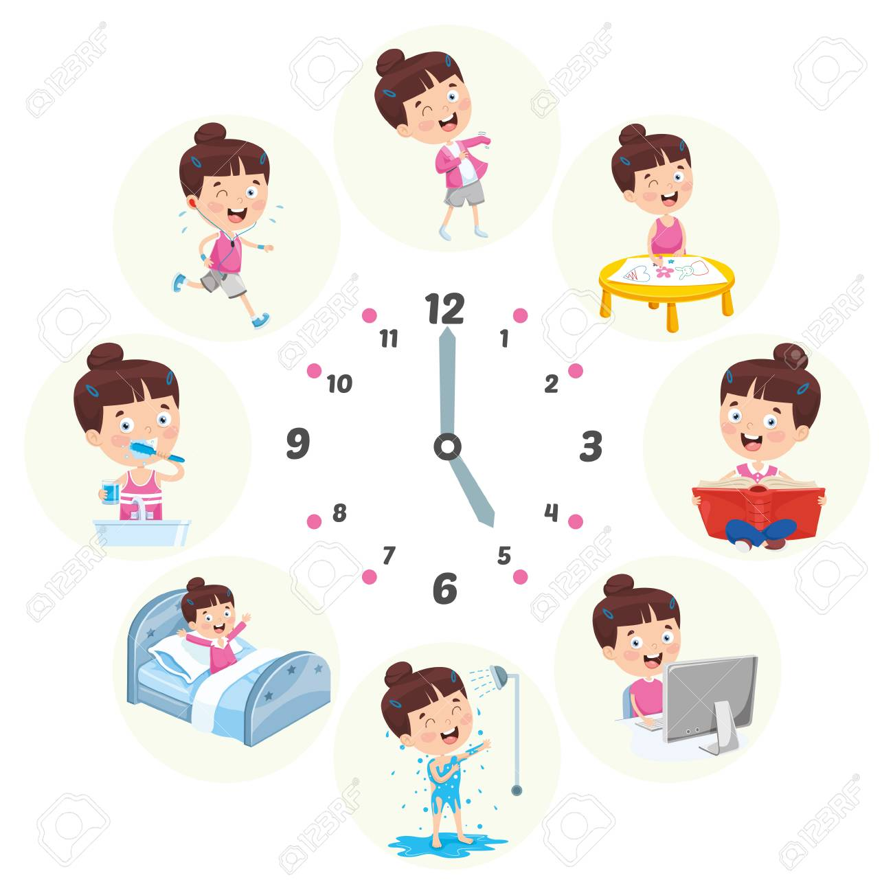 Vector Illustration Of Kids Daily Routine Activities - 114778569