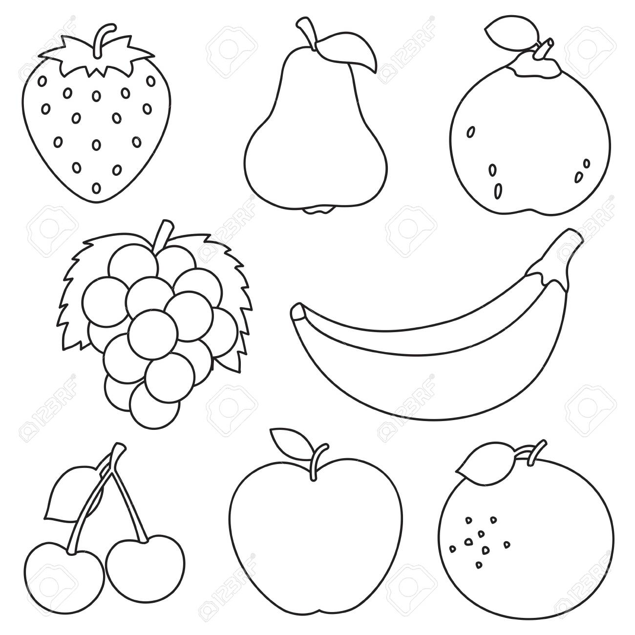 - Vector Illustration Of Fruits Coloring Page Royalty Free Cliparts