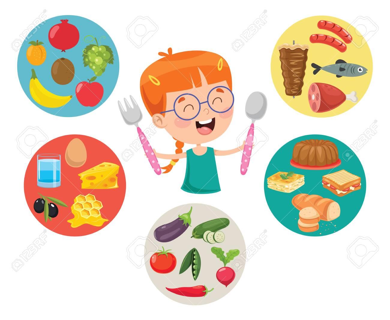 Vector Illustration Of Children Food Concept - 122323642