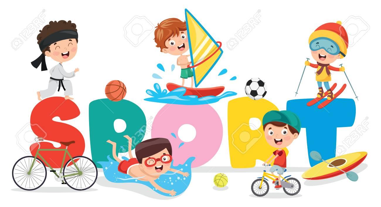 Vector Illustration Of Children Sport Background - 122904510