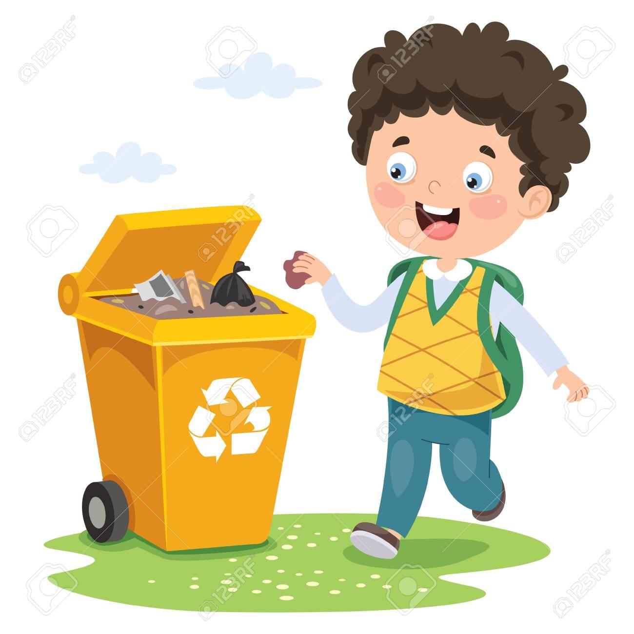Kid Throwing Garbage In Trash Bin - 132910946