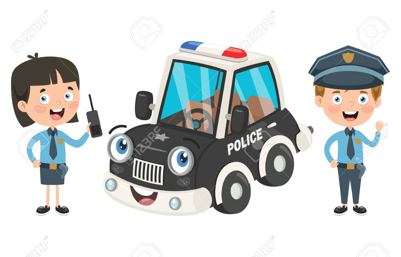 Cartoon Characters Of Male And Female Police Officers - 140078108