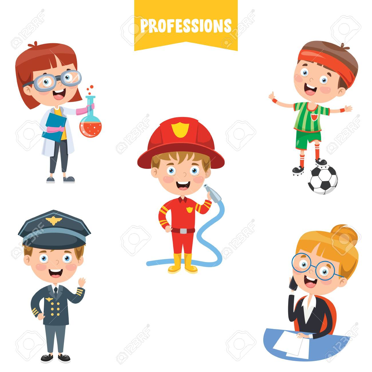 Cartoon Characters Of Different Professions - 140077998