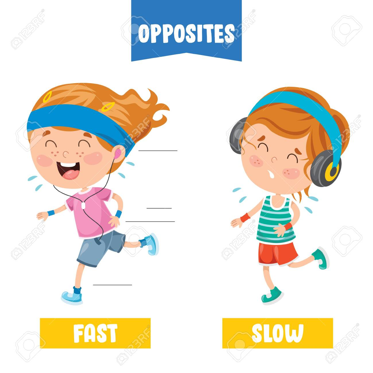 Opposite Adjectives With Cartoon Drawings - 140348659
