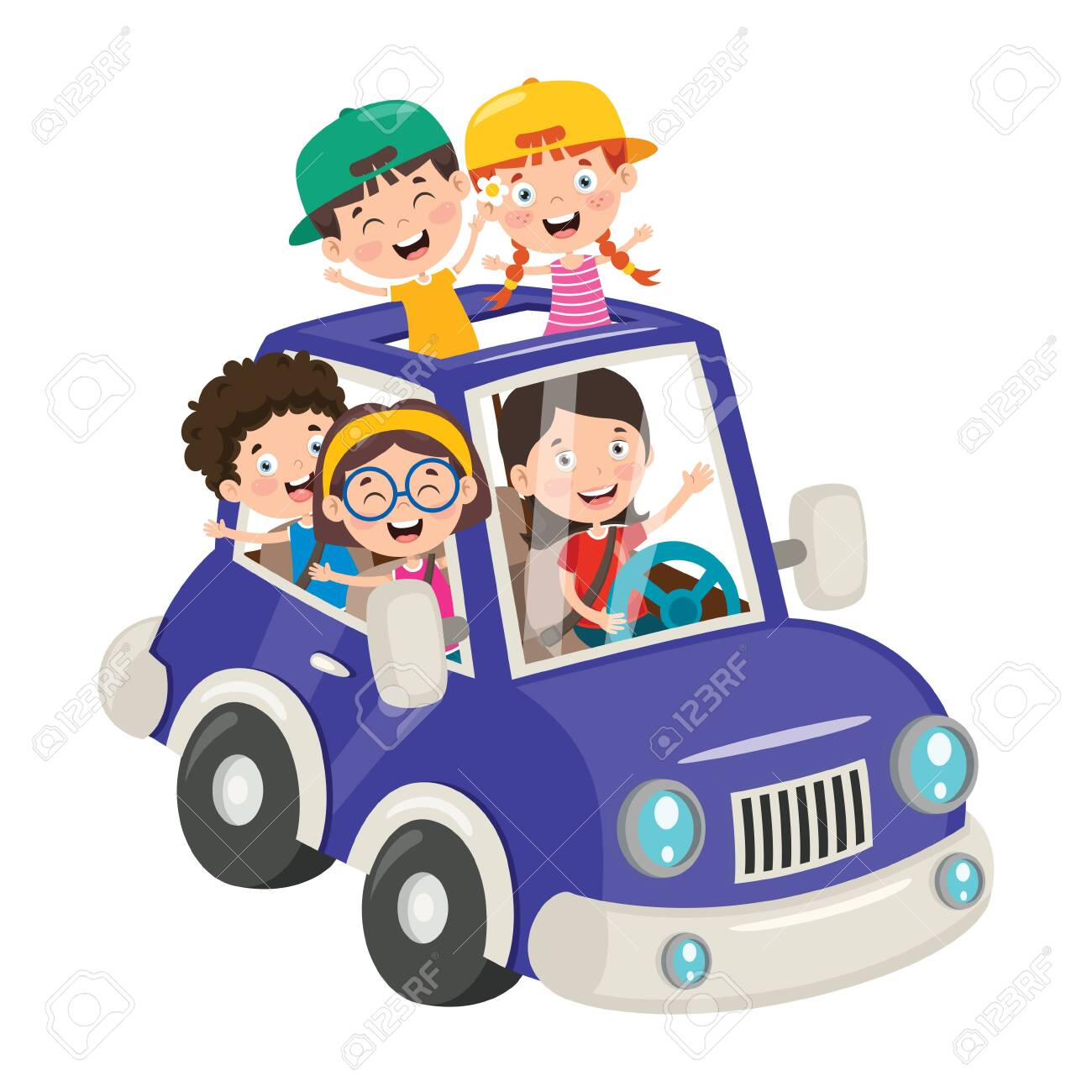 Cartoon Characters Travelling With Vehicle - 147108500