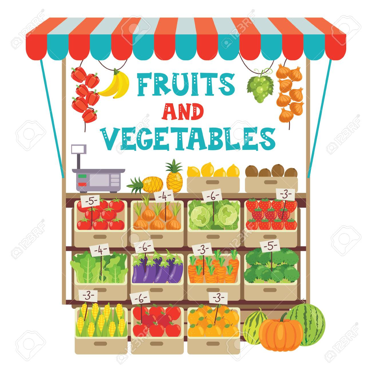 Green Grocer Shop With Various Fruits And Vegetables - 147786814