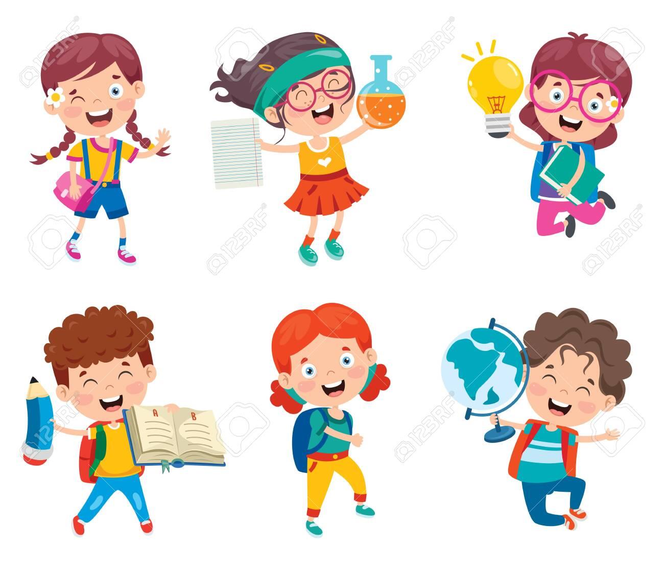 Happy Cute Cartoon School Children - 148198151