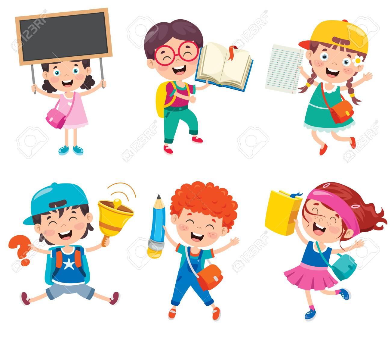 Happy Cute Cartoon School Children - 148055459