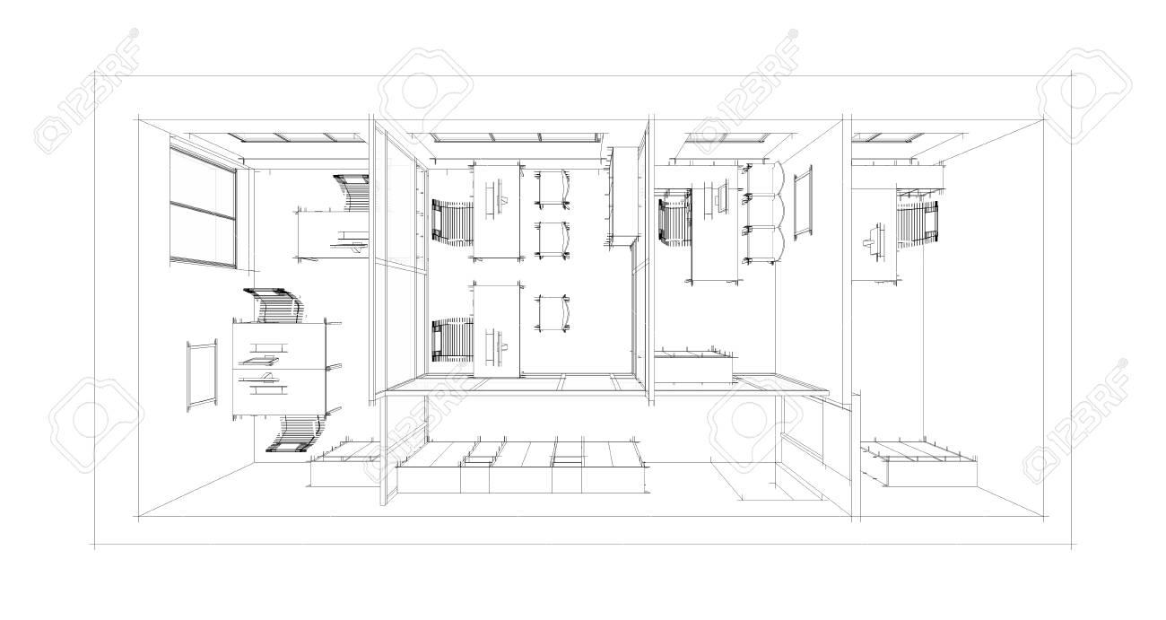 The modern office interior design sketch 3d render on interior design board layout, interior design plan view, interior design flowchart, interior design block diagram,