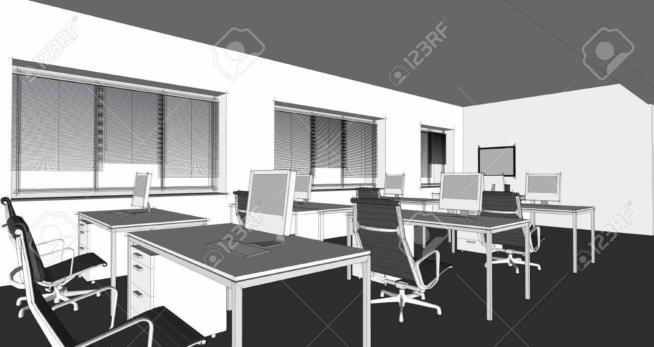 The Modern Office Interior Design Sketch Render Stock Photo