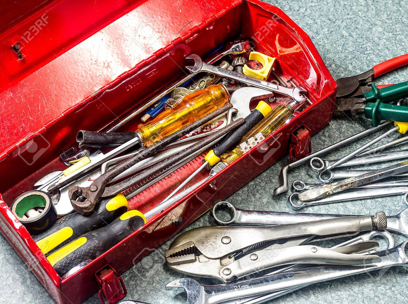 well used old tools and red tool box stock photo, picture and