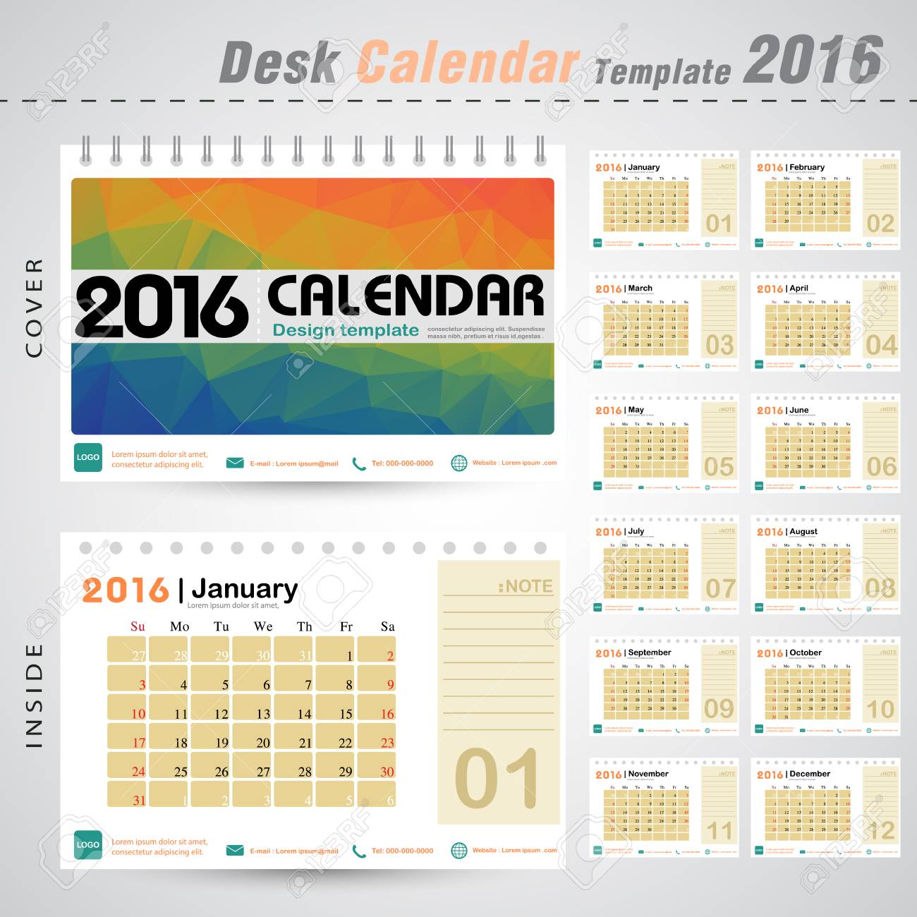 desk calendar 2016 vector design template with colorful with