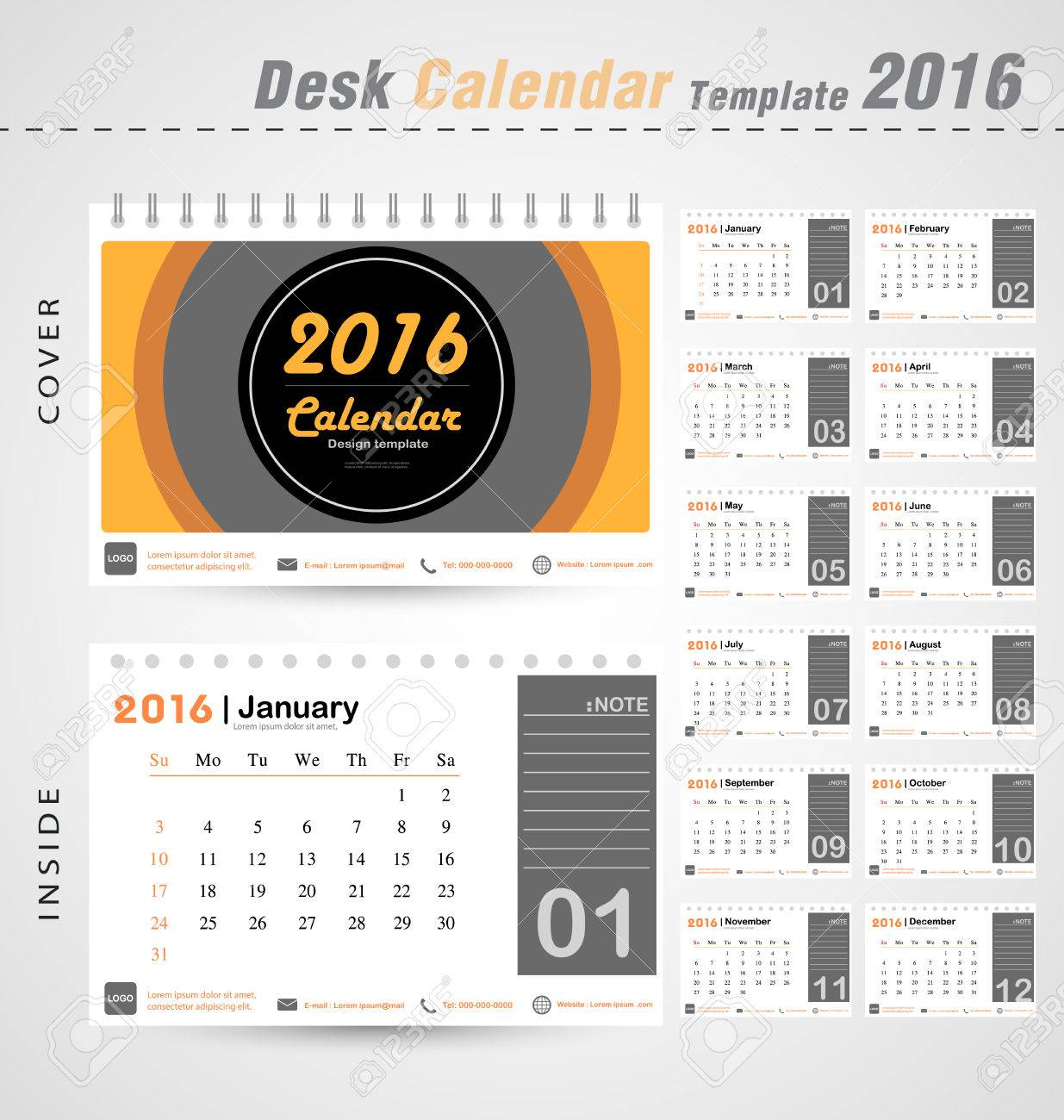 desk calendar 2016 vector modern circle design cover template