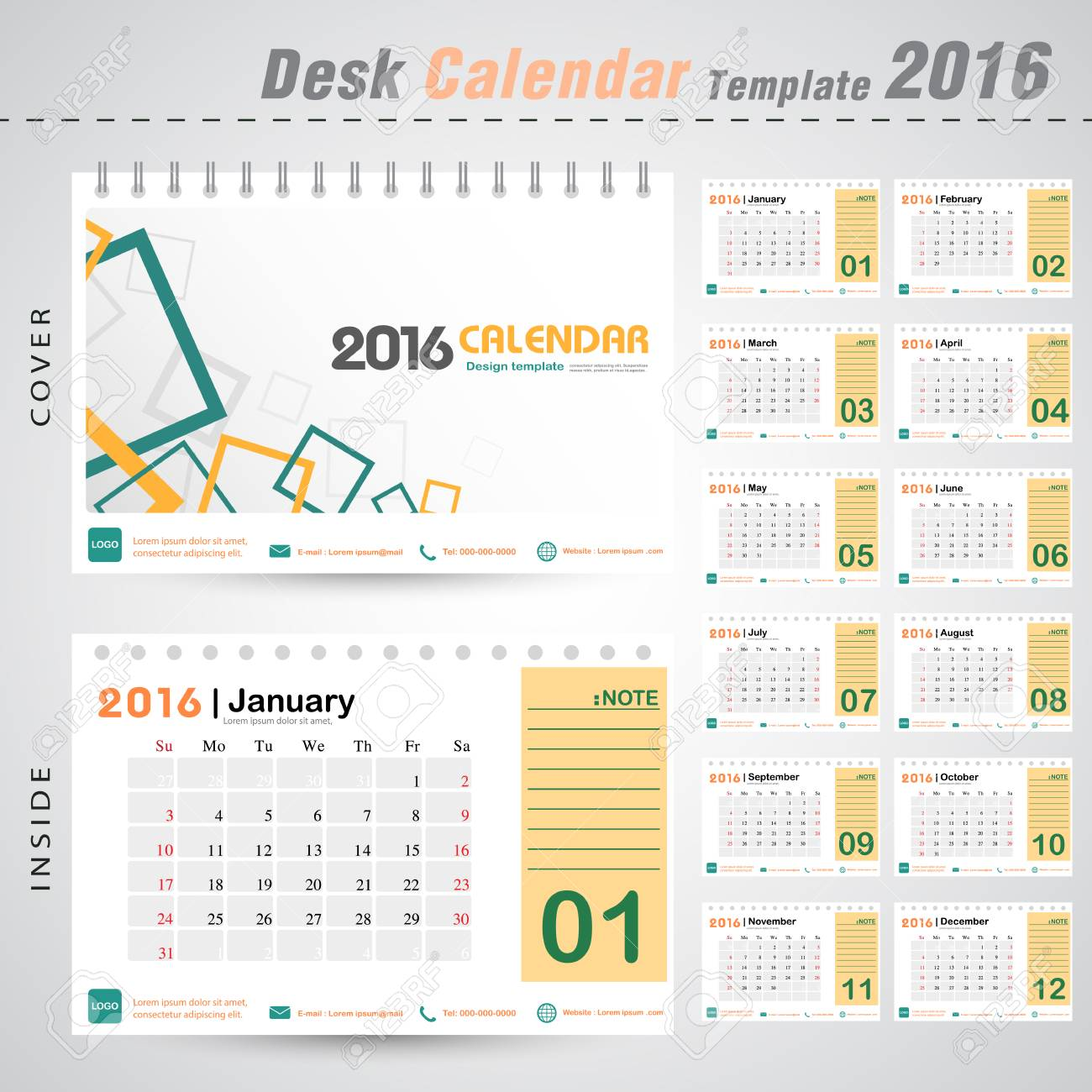 Office Calendar 2016 : Desk calendar vector modern square design cover template