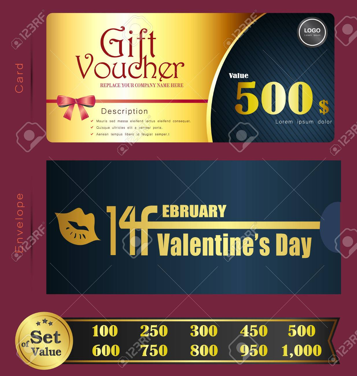 Valentine day gift voucher template with premium pattern and valentine day gift voucher template with premium pattern and envelope design can be used for coupon 1betcityfo Image collections
