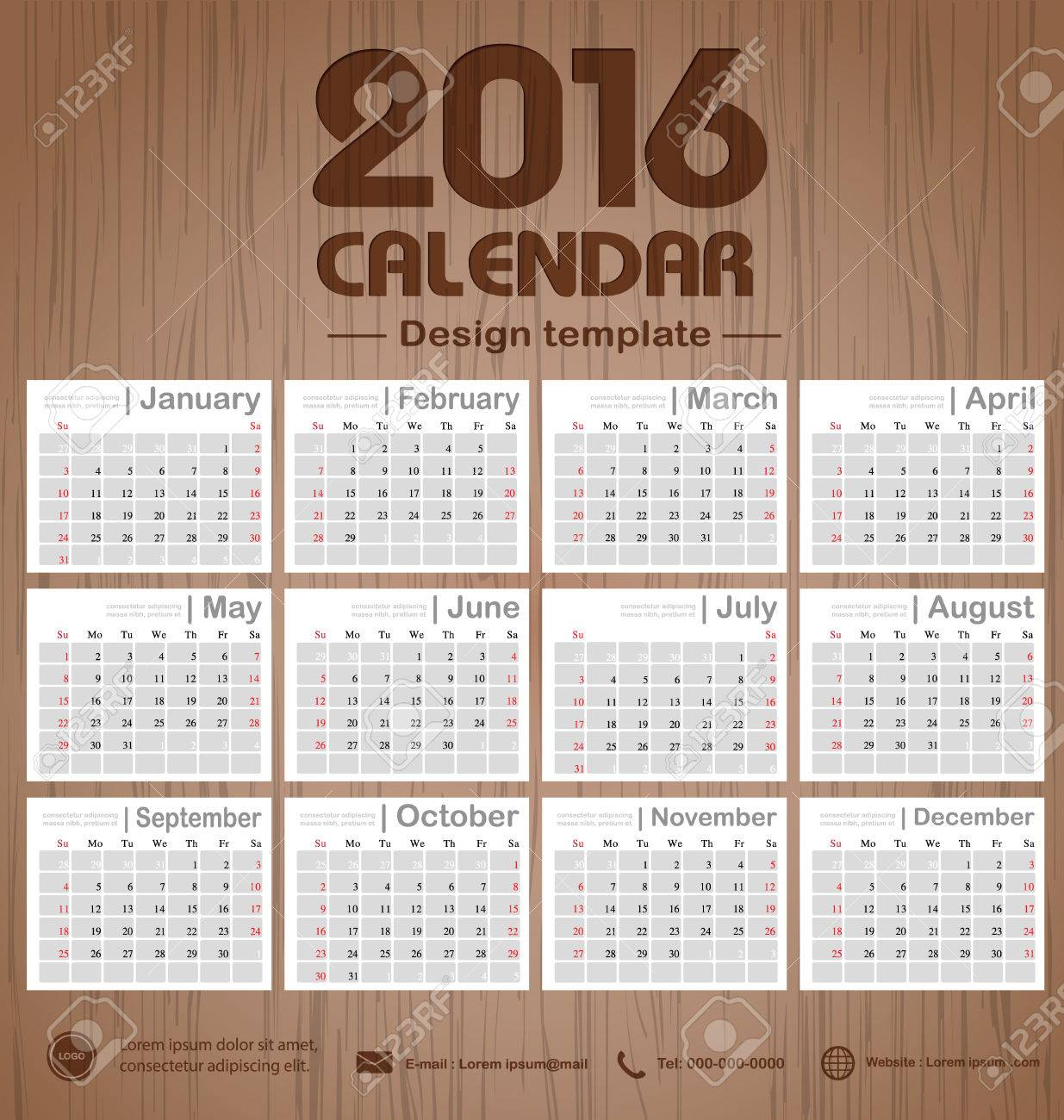 Office Calendar 2016 : Calendar wooden engraving background texture design template